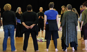 Guest artist Diego Piñón leads a workshop in Body Ritual Movement at the Port Townsend residency.