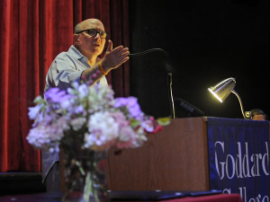 Goddard College photo/Stefan Hard - Comedian, actor, and Emmy Award-winning voice actor Jonathan Katz delivers the commencement keynote address Sept. 6 at Goddard College in Plainfield. Katz is a 1971 graduate of Goddard's residential undergraduate program.