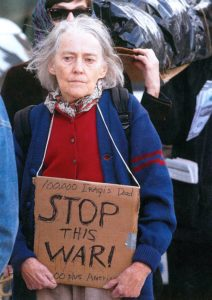 Priscilla Backman pictured at an anti-war protest.