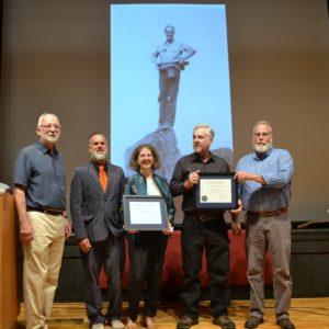Goddard President Robert Kenny, Aaron Pitkin, Sarah Roos, Caleb Pitkin, and Seth Pitkin