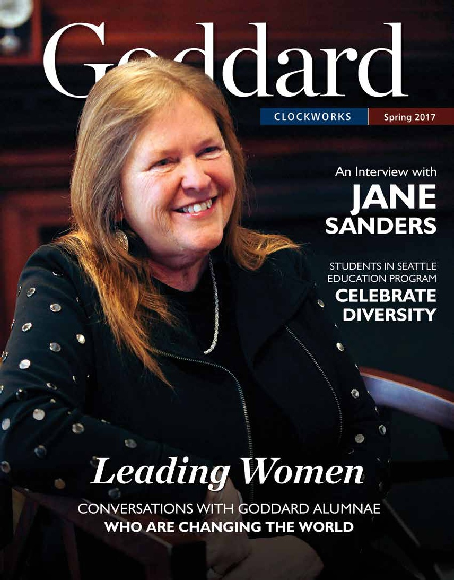 Jane Sanders on the cover of the 2017 Spring issue of Clockworks alumni magazine